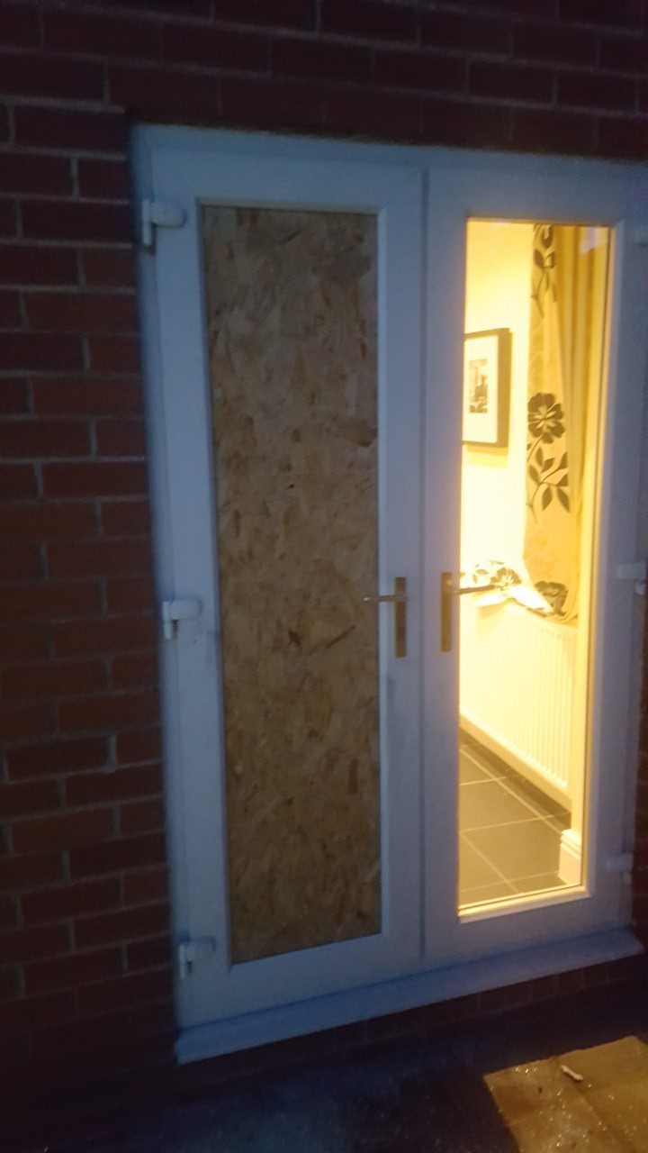 Smashed Window Boarded Up Whitley Bay Upvc Door Repair