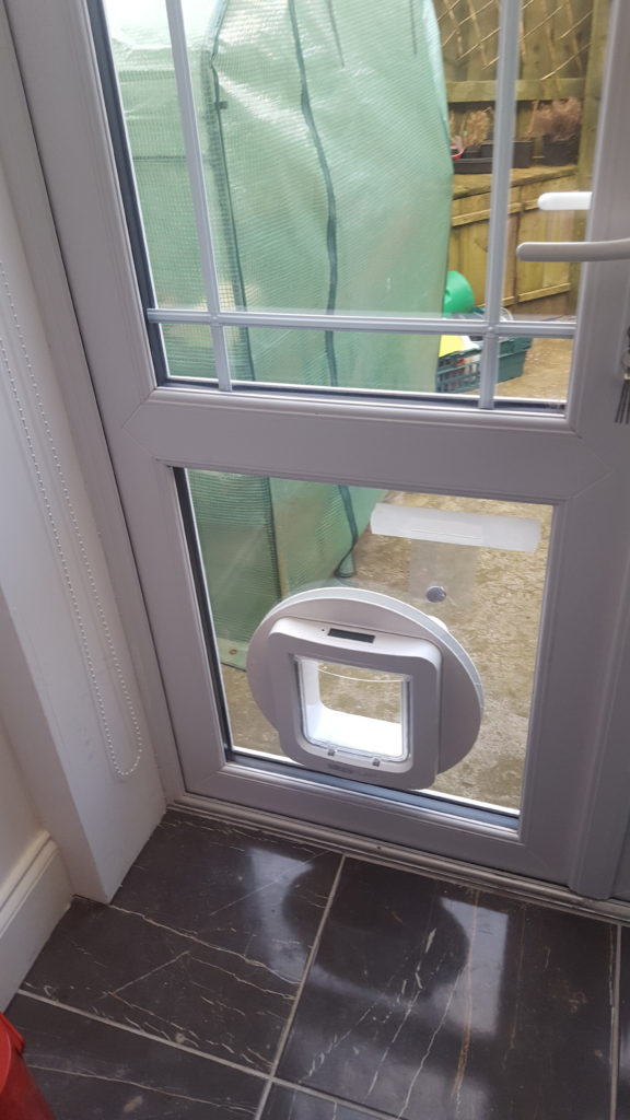 Cat flap fitted to glass door Whitley bay