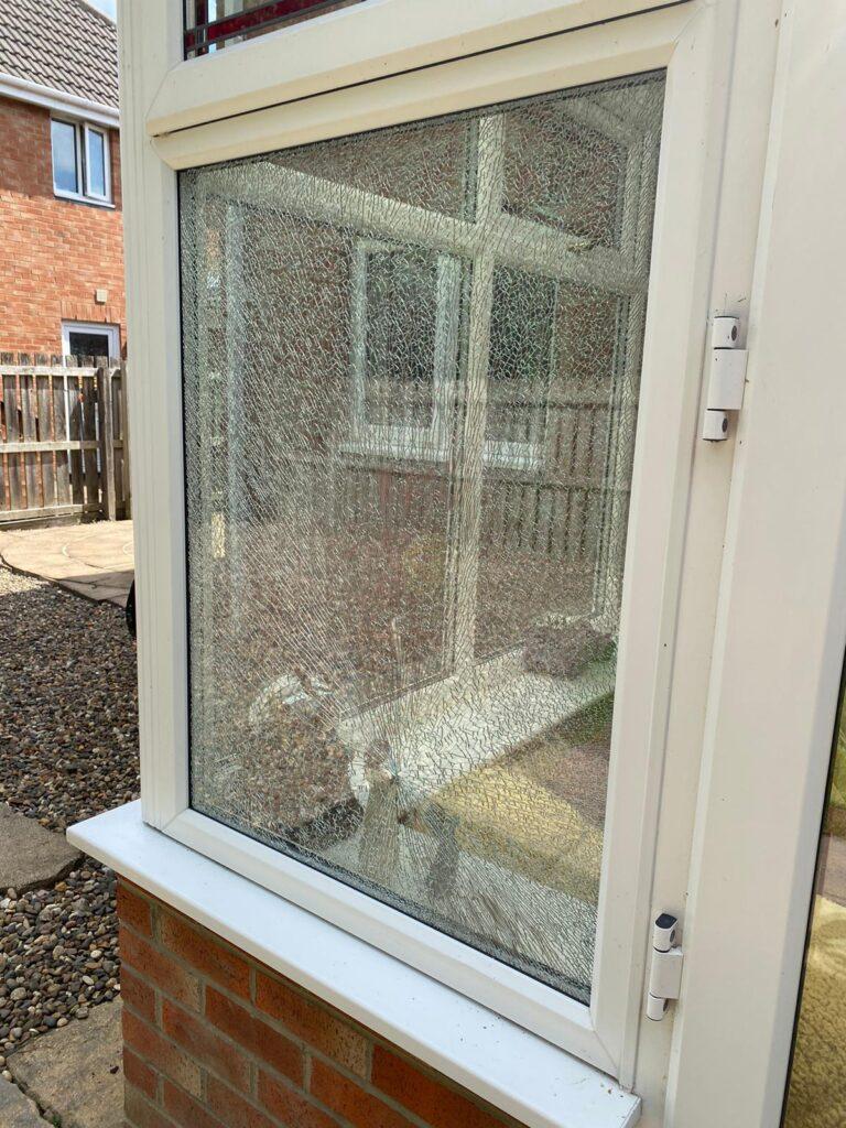 Smashed window Newcastle upon Tyne